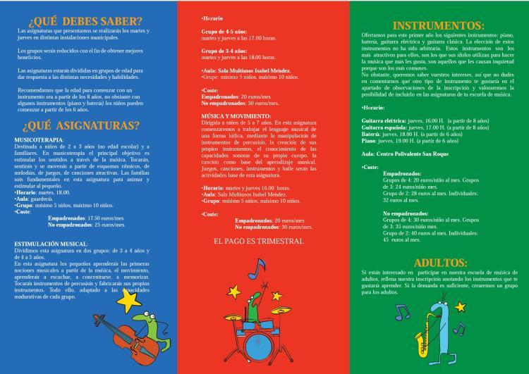 Escuela Municipal de Música de Castellanos de Moriscos - Tríptico Reverso